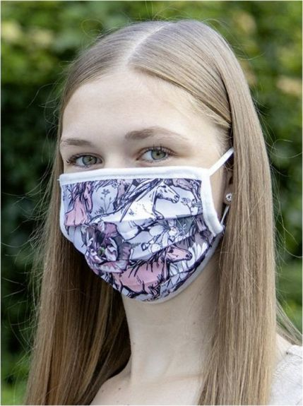 HKM Mond en gezichtsmasker. Grijs/Roze 1 maat nodig? - ruitershopbeerens.nl