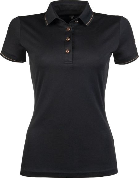 HKM Rosegold Glamour Poloshirt Zwart L nodig? - ruitershopbeerens.nl