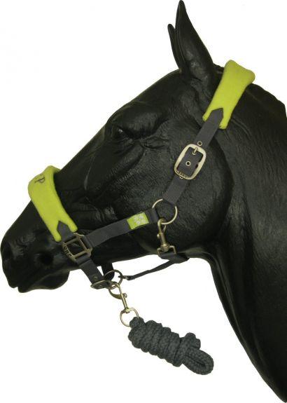 QHP Halsterset Luxe incl. touw Lime/Grijs Shetland nodig? - ruitershopbeerens.nl